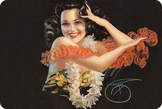 Hawaiian pin-up postcard, attributed to Billy De Vorss in 1946.  I bought this sassy postcard in Hawaii and it always pulls classic, retro tiki goodness back into my memory, both with and without Mai Tais. :)