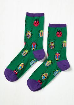 Entomology-Whiz! Socks - Green, Purple, Print with Animals, Print, Casual, Critters, Nifty Nerd, Good, Crew, Quirky