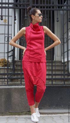Купить Брюки Red Harem Linen - ярко-красный, брюки, брюки из льна, льняные брюки