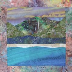 "HANALEI BAY Kauai Hawaii - 10.5"" Batik Fabric Quilt Panel Block - Waterfalls Beach Purple Sunset Sky"