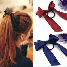 Preferential Hair Band Scrunchie Ponytail Holder Multi Color Hair Tie Rope Fashion Hair Accessories Women Ribbon Bow _ {categoryName} - AliExpress Mobile Version - New Ideas Diy Hair Bows, Bow Hair Clips, Hair Ties, Hair Scrunchies, Headband Hairstyles, Diy Hairstyles, Hair Scarf Styles, Long Hair Styles, Pelo Multicolor