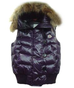 Moncler Tarn Womens Down Vest Rabbit Hats Zip Purple! Only $273.9USD