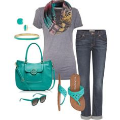 Great outfit. This is how I typically look. Love the green and printed scarf.