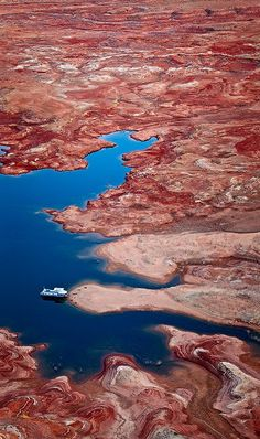 A houseboat near Gunsight Butte. Lake Powell, Utah