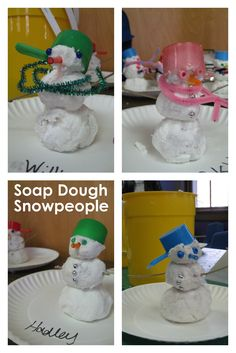 Soap Dough! Tear up lots of small pieces of toilet tissue, grate a bar of ivory soap, and  add a little water. Squish with your hands to mix until it becomes a dough. Use your imagination to sculpt--we made snowpeople (with a wood skewer down the middle for stability).