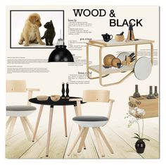 """""""wood and black"""" by limass ❤ liked on Polyvore featuring interior, interiors, interior design, home, home decor, interior decorating, Artek, Dot & Bo, Crate and Barrel and Joseph Joseph"""
