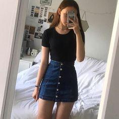 7c392db24 18 melhores imagens da pasta saia jeans preta | Black denim skirt ...