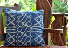 Chalk Indigo Block Printed Cushion MATERIAL Jute And Cotton DIMENSIONS 16 X 16 Inch