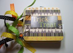 Halloween Mini Scrapbook, Halloween Mini Album, Halloween Photo Album, Halloween Brag Book, Premade Album, Trick or Treat Album by HampshireRose on Etsy