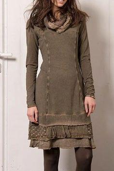 Casual Long Sleeve Cotton-Blend Daily Khaki Plus Size Dresses Look Fashion, Womens Fashion, Winter Fashion, Trendy Fashion, Fashion Tips, Long Sleeve Midi Dress, Dress Long, Sleeve Dresses, Mode Outfits