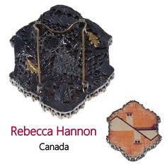 Rooftops artist: Rebecca Hannon  Silver, gold, photo, plexi glass; hand sawn, laminated, soldered, set.  2 x 3 x ½ in  Photo: David Kadlec