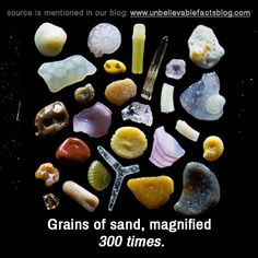 Grains of sand, magnified 300 times.