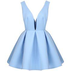 Blue V Neck Backless Midriff Flare Dress (£17) ❤ liked on Polyvore featuring dresses, vestidos, short dresses, robe, blue, knee length cocktail dresses, flare cocktail dress, sleeveless shift dress, blue dress and mini dress