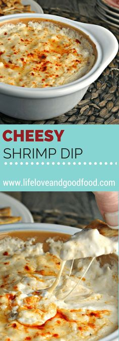 We <3 Good Food:  Cheesy Shrimp Dip makes a delicious dinner party appetizer. Serve hot and bubbly with pita chips, a sliced and toasted baguette, or assorted crackers.