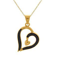 "0.12ct Round Black Diamond Sterling Heart Pendant W/18"" Chain $1300"