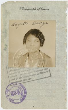 Passport photograph of sculptor Augusta Savage, date stamped August Augusta Savage, Green Cove Springs, Civil Rights Activists, August 25, Human Mind, Grandmothers, New York Public Library, Black People, School Projects