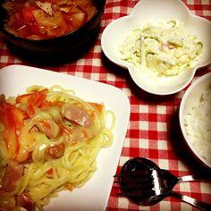 野菜たっぷりトマトスープ♪ - 2件のもぐもぐ - クリームシチューのパスタ by ayaka3o