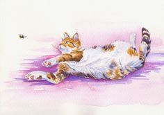 """ORIGINAL WATERCOLOUR PAINTING: CALICO CATS KITTENS FELINES: """"BEE LAID BACK"""""""