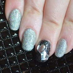 Black and Silver Hearts Valentine's Day Manicure