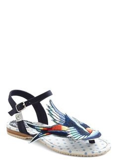 Tweet of Foot Sandal - Miss L Fire (via ModCloth) so stinking cute flat sandals i could die!!! already sold out of my size and many others hopefully they will restock :D $89.99 is kind of expensive though