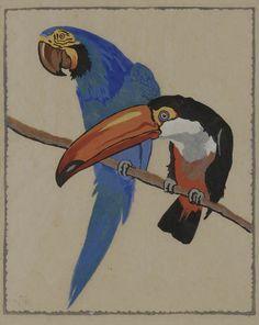 ✨  Norbertine von Bresslern-Roth, Austrian (1891-1978) - Tukan und Papagei, um 1918, Farbholzschnitt auf bräunlichem Japan. 26,5 x 22 cm. Links unten Künstlermonogramm NBR ::: Toucan and Parrot, Colour Woodcut