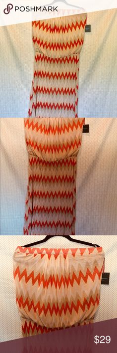 Cynthia Rowely Zigzag Pattern Strapless Dress Cynthia Rowely Strapless Dress Color: Orange and Tan in a zigzag pattern Size L MEASUREMENTS  - armpit to armpit: 19 1/4 inches  - waist: 25 inches - length: 53 1/4 inches  100% Polyester  Machine washable  Thank you for checking my closet!!!!! Offers and questions are always welcome. Cynthia Rowley Dresses Maxi
