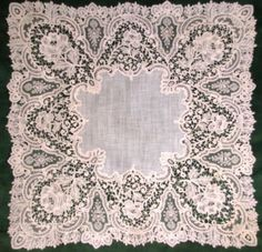 Brussels point de gaze wedding handkerchief; details unknown.
