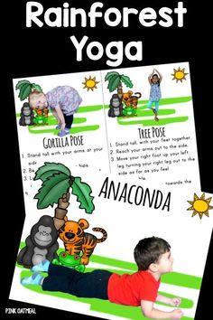 Kids yoga cards with a Rainforest theme. I love how cute they are and how real kids are in the yoga poses. Perfect for my summer Olympics unit! Rainforest Preschool, Rainforest Crafts, Rainforest Classroom, Rainforest Activities, Preschool Jungle, Rainforest Habitat, Rainforest Theme, Preschool Age, Preschool Classroom