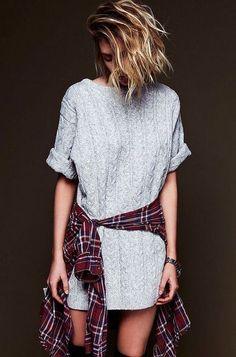 White Sweater Dress and Flannel Shirt Tied Around ❥ 4U hilariafina http://www.pinterest.com/hilariafina/