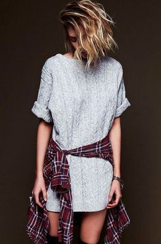 white sweater dress and flannel shirt tied around fun game day outfit