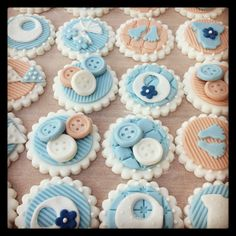 Boys baby shower/christening cupcake toppers