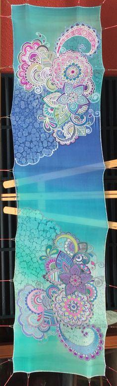 Fular de verano con gutta de colores y seda transparente