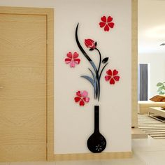 DIY Home Accessories Wall Decoration Wall Hangings Creative Ceramic Flower Wall Murals Removable Wall Decals B) ** Learn more by visiting the image link. (This is an affiliate link) Wall Stickers Home, Wall Stickers Murals, Wall Murals, Wall Hangings, Sticker Mural, Diy Wall Art, 3d Wall, Flower Wall, Flower Vases