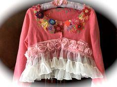 Darling Betsey Johnson Style Fluffy Ruffled Cropped Sweater Color Splash Shrug Shabby Chic Cutey by IzzyRoo on Etsy