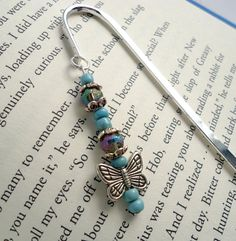 Beaded bookmark butterfly turquoise lavender by EmsSparklinGems