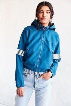 UO Exclusive Fila Hooded Blue Windbreaker Jacket