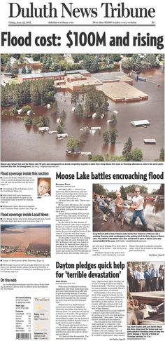 June 22, 2012. Duluth News Tribune from news of the 2012 Duluth, Minnesota floods.