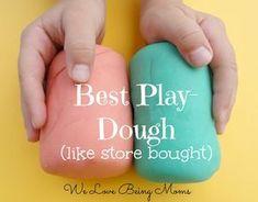 We Love Being Moms!: 10 Homemade Play-dough Recipes Veel recepten geprobeerd, beste bovenaan Zout en cream of tartar