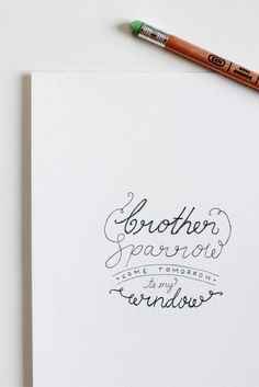 typography Lovely hand drawn piece using words from the song Brother Sparrow by Agnes Obel. Created by Claire Dalgliesh of Fellow Fellow. Typography Love, Typography Letters, Graphic Design Typography, Lettering Design, Typography Sketch, Pattern Texture, Typographie Inspiration, Beautiful Lettering, Hand Drawn Type