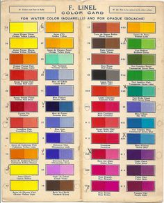 Vintage color card for F. Linel Watercolors
