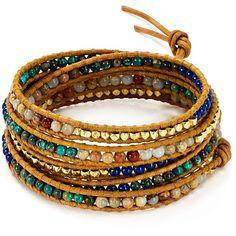 Chan Luu Aqua Terra Mix Beaded Wrap Bracelet (€215) ❤ liked on Polyvore featuring jewelry, bracelets, bracelets & bangles, bohemian bangles, chan luu jewelry, bangle bracelet, boho chic jewelry and wrap bangle bracelet