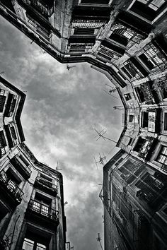 sky, buildings, black and white