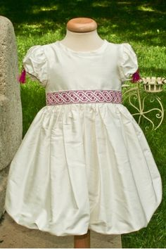 """A beautiful and elegant dress, made out of dupioni silk and embroidered with Romanian traditional motifs, part of the """"Ballerina & The Funky Boy"""" collection. Pretty Little Girls, Boy Christening, Traditional Outfits, Ballerina, Anna, White Dress, Flower Girl Dresses, Costume, Elegant"""
