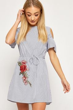 bd114210a2e5 Jasmine Striped Floral Embroidered Belt Shirt Dress. WearAll. Off Shoulder  ...