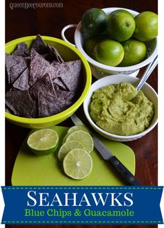 Seahawks Party Food - Homemade guacamole served with blue tortilla chips - Queen. - Seahawks Party Food – Homemade guacamole served with blue tortilla chips – Queen Bee Coupons & - Super Bowl Party, Super Bowl 2015, Seattle Seahawks, Seahawks Game, Party Food Homemade, Super Bowl Essen, Football Snacks, Football Baby, Party