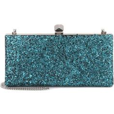 Jimmy Choo Celeste Glitter Clutch ($1,185) ❤ liked on Polyvore featuring bags, handbags, clutches, сумочки, clutch bags, turquoise, turquoise handbags, blue clutches, jimmy choo clutches and glitter purse