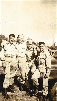Floyd Talbert, unidentified soldier, Paul Rogers and Forrest Guth in South Carolina, 1942