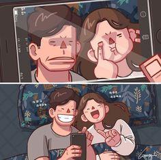 Cute Couple Comics, Couples Comics, Cute Couple Art, Anime Love Couple, Couple Cartoon, Cute Couples Goals, Cute Anime Couples, Sundae Kids, Cute Couple Drawings