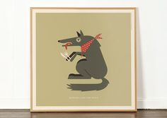 """Hungrey Like The Wolf by Duran Duran (released as a single in1982). A 12"""" individual character printtaken from ourRock 'N Roll Zoolitho print. Prints are presented in a 12"""" record sleeve and fit into frames that can be bought off the shelf specifically for displaying LP ..."""