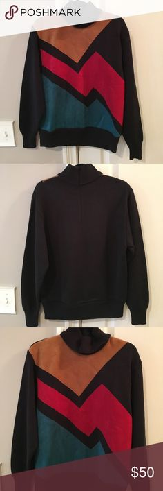 LILLY ANN VINTAGE ABSTRACT SWEATER WOMENS SIZE 10 LILLY ANN COLLECTION VINTAGE ABSTRACT SWEATER WOMENS SIZE 10.  Turtleneck with zipper in back.  Colored Sued like material in front along with black knit material.  Really unique! Great condition for  VINTAGE!!! lilly ann Sweaters